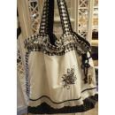 Einkaufstasche schwarz/weiß mit Blumen