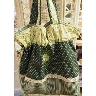 Einkaufstasche grün mit Blumen