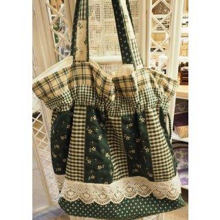 Einkaufstasche grün gemustert